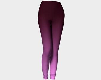 Purple Leggings, Pink Leggings, Ombre Leggings, Unique Leggings, Yoga Leggings, Plus Size Tights, Workout Pants High Waisted Womens Leggings