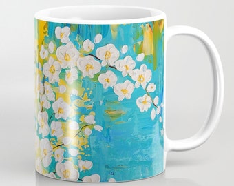 Floral Coffee Mug, Flower Mug, Turquoise Mug, Yellow Orange Mug, Art Mug, Tea Mug, Unique Mugs, Coffee Cup, Housewarming Gift, Ceramic Mug