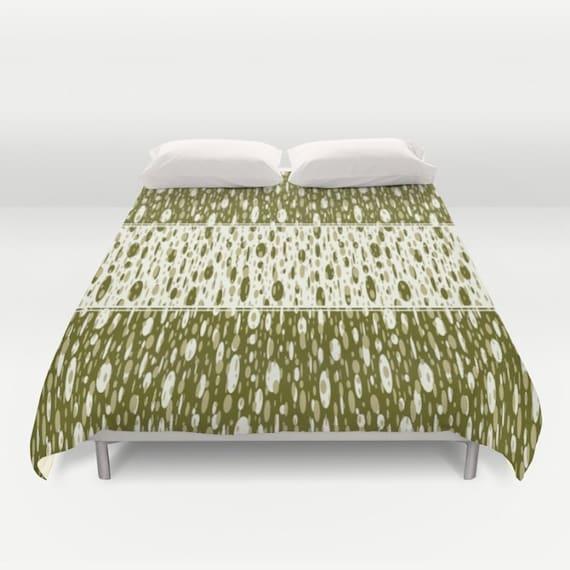 olive green duvet cover green comforter off by designbyjuliabars. Black Bedroom Furniture Sets. Home Design Ideas