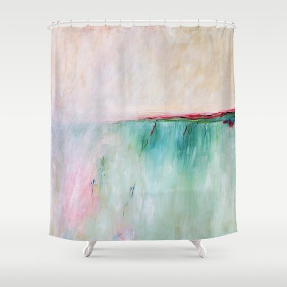 Pink Shower Curtain Turquoise Shower Curtain By Madart Inc