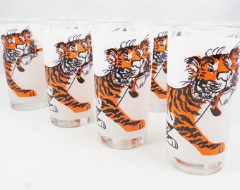 "Esso Tiger Drinking Glasses, Set of 8, 5 1/2 "" Tumblers, 1960s Petroliana Advertising Give Away"
