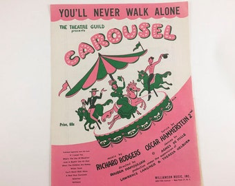 Vintage Sheet Music Carousel You'll Never Walk Alone 1945 Green Pink Kitschy Merry Go Round Nursery Decor Horse Carousel Ride