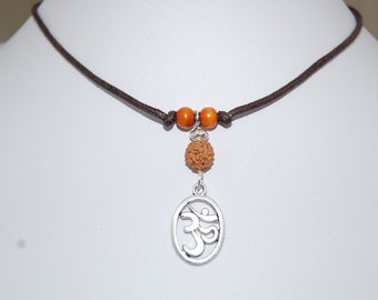 Om Necklace,Om Leather Chocker Necklace,Choker Necklace,Buddhist Rudraksha Beads,Girl,Woman,Cord Necklace,Buddhist,Lobster Lock End Cord