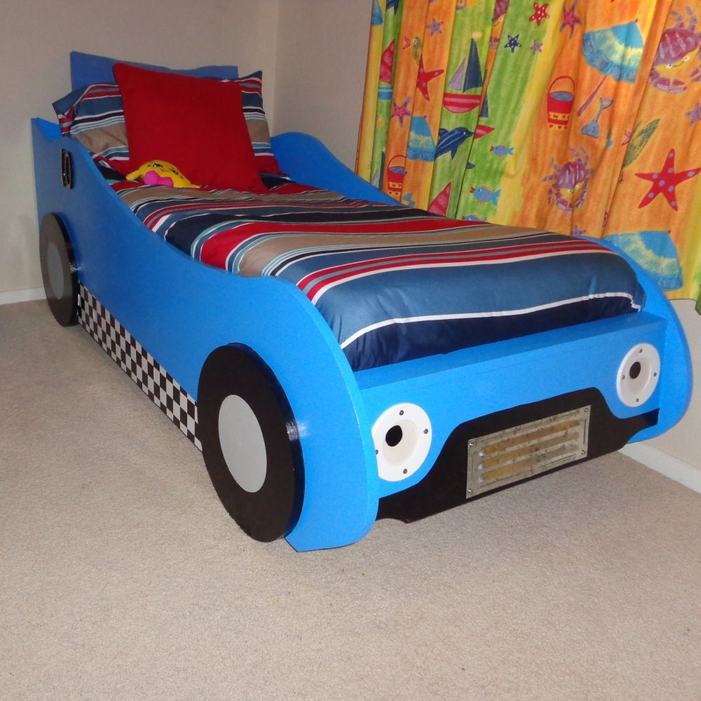 Blue car beds for kids - Diy Kids Racing Car Bed Woodworking Plans