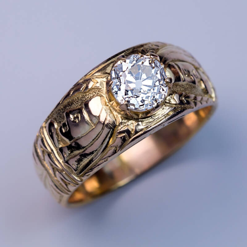 Unusual Antique Diamond Chased Gold Mens Ring