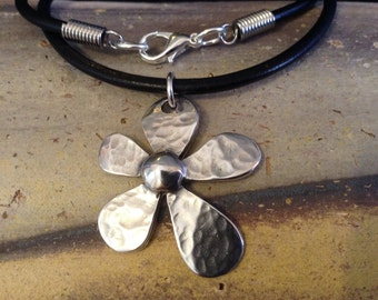 Black Leather Necklace with Sterling Silver Plated Hammered Flower Pendant!