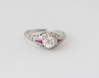 Circa 1915 Edwardian Diamond Engagement Ring ft. 0.71ct Old Miner & Ruby Trillions in a GORGEOUS Design, ATL #366A
