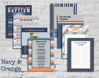 Navy & Orange LDS Baptism Printable Memory Book - Instant Download