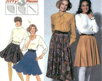 Simplicity Pattern 7561 Jiffy Circular skirt just 3 pieces Size 10-16  UNCUT