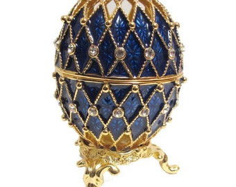 Faberge style egg gilded Openwork blue jewelry box Austrian crystals - kod70p
