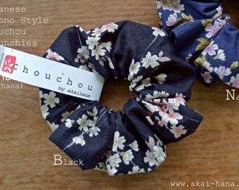 Kimono style Chouchou/Scrunchies, Shidarezakura (Cherry blossom) Black or Navy, 100% Japanese cotton
