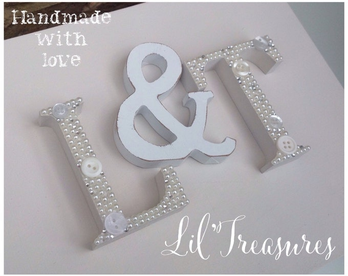 Free standing Decorative embellished Letters & Numbers any colours. Buttons, Pearls, crystal. Buy 4+ for discount, home, love, dream sign