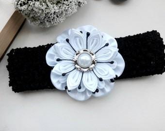 Baby Girl Headband/ Flower Head Band/ Baby Girl Hair Accessory/ Kanzashi fabric flowers/Black Headband/Kanzashi Headband