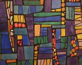 Abstract Stain Glass Study, Watercolor M Bevington
