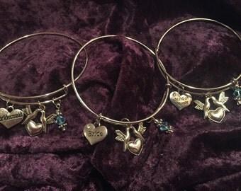 Bride and Bridesmaid Bracelets with Swarovski Crystals, Bridesmaid Gift