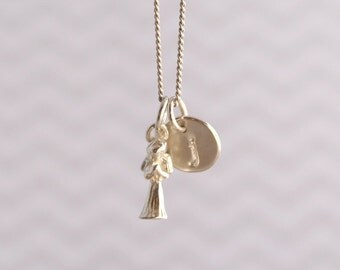 Initial Charm Necklace Custom Hand Stamped Sterling Silver Necklace Angel Charm