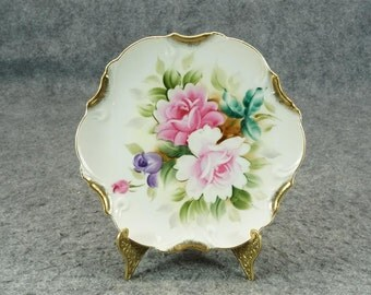 Vintage Floral Design Hand-Painted Decorative Plate