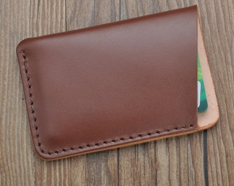 dark brown slim leather credit card case,handstitch credit card holder,leather credit  sleeve