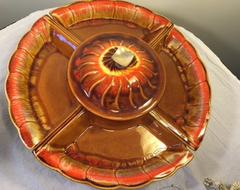 Maurice california pottery lazy susan mod serving tray - platter - 1960's pottery