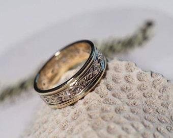 14K two-tone Celtic diamond ladies wedding band