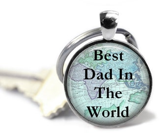 World map keychain etsy dad necklace map jewelry travel keychain world map best dad in the world gift for dad sciox Images