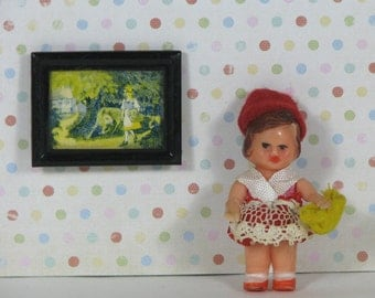 Doll house vintage ARI girl doll with picture 1960s 1970s little red riding hood