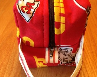 Boxy Pouch Makeup Travel Shaving Case Kansas City Chiefs