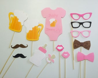 A Baby Is Bewing! 14 Piece Photo Booth Prop Set/Co-Ed Baby Shower/ Baby Brewing BBQ/Couples Beer Baby Shower