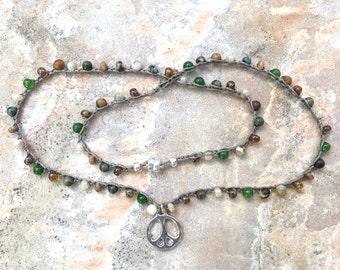 Beaded crochet Peace necklace or wrap bracelet