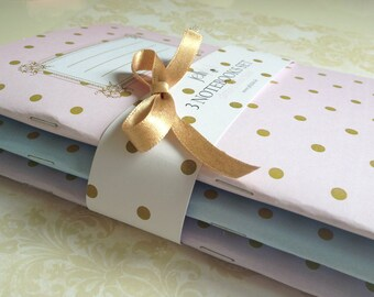 Set of 3 Notebooks Dots collection, Notes, Notaped, Journal, Diary, A5,  Dots collection, Romantic, Vintage