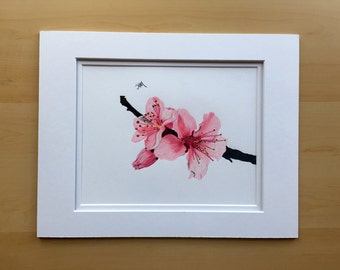 Flower drawing, cherry blossoms, original pencil drawing, colored pencil drawing, 11x14