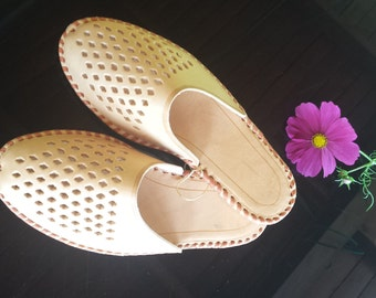 LEATHER slippers for woman Moccasins, Brown Boots, House shoes, leather , Footwear, Home Natural gift for women. Shoes for summer.
