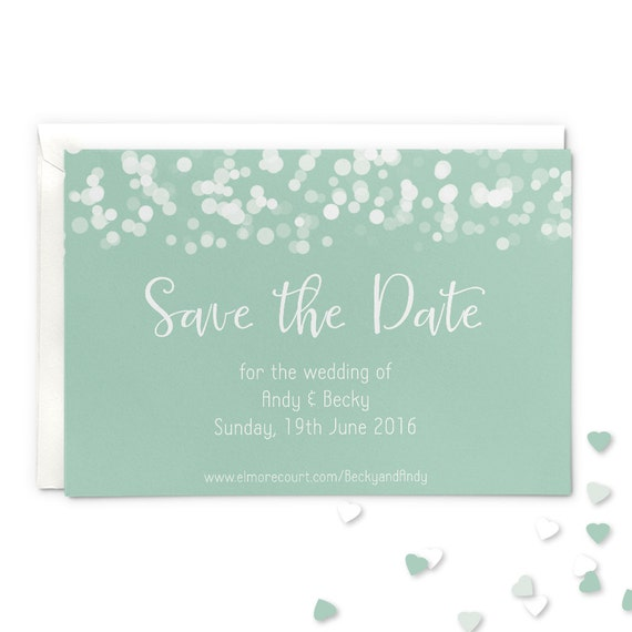 Save The Date Wedding Magnet Or Card Mint Glittering Lights