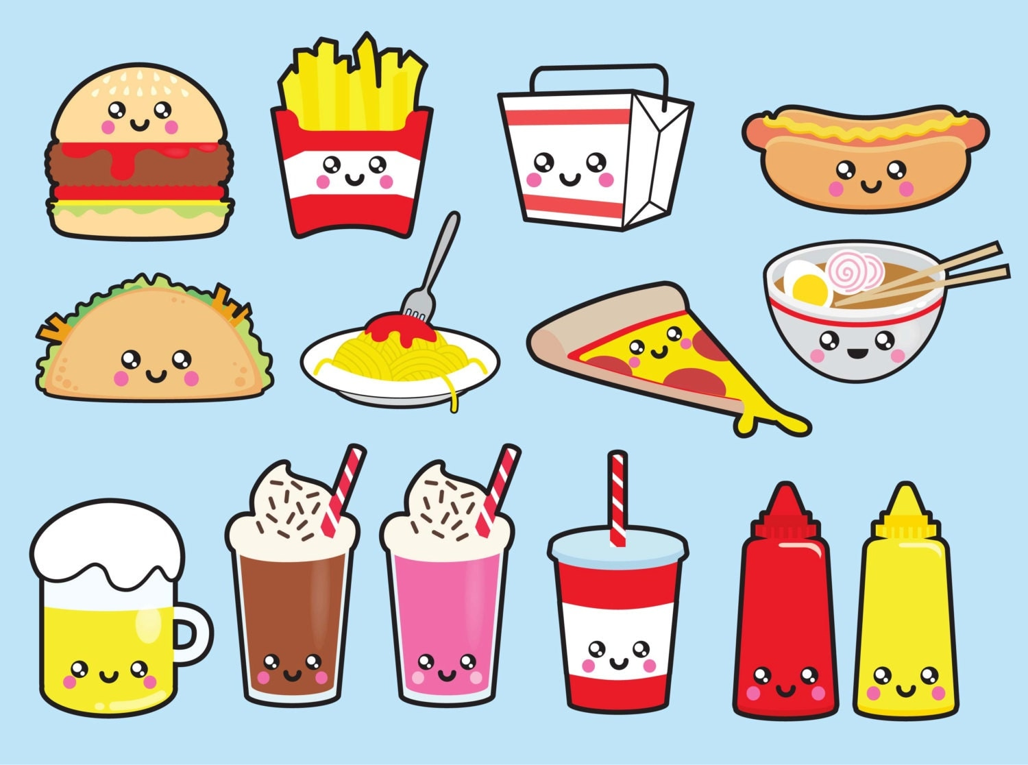 premium vector clipart kawaii junk food clipart kawaii eating junk food clipart junk food clipart black and white