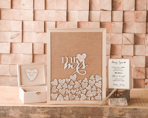 Wooden Wedding Guestbook Alternative Hearts Guestbook Wood