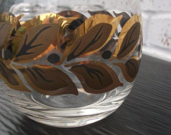 Set of  5  Roly Poly Glasses with gold leaf design  8 oz