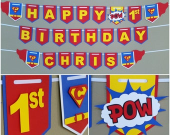 Superman Happy Birthday Banner, Superman Banner, Superman Pennant, Superman Picture Prop Banner, Superhero Banners, Superman Party Decor