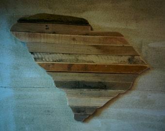 South Carolina - Reclaimed Wood Cutout