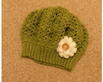 Beautiful Crochet Hat - Adult Size Green