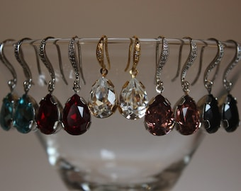 Swarovski Crystal Pear Shaped Dangle Earrings with CZ Ear Wire in Gold or Silver