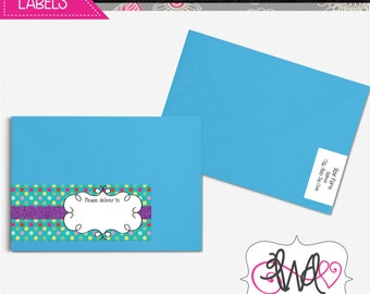 EDITABLE INSTANT DOWNLOAD: Wrap-Around Address Labels, Teal Polkadot, Multi-Color