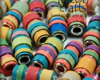 Handmade paper beads,multicoloured beads,coloured paper,meduim size,crafters,bright colours,metal bead cores