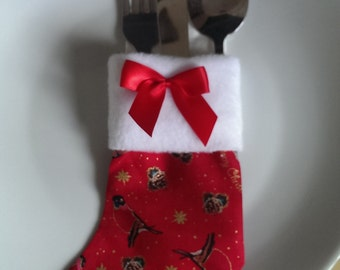Christmas Robins Red Cutlery Holder