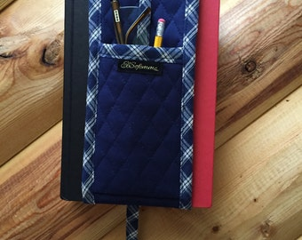 Unique Gift One of a Kind Quilted Bookmark with Glasses Pencil Holder