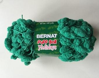 Bernat Puff Ball Holidays Yarn Garland Green  New Christmas Yarn  Green Pom Pom Yarn