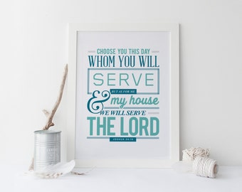 """Joshua 24:15 - Bible Verse Art Print Scripture art Scripture Typography print Bible """"As for me and my house, we will serve the Lord."""""""