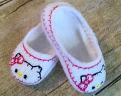 "Digital Download  14.5"" Doll Bow Kitty Shoes In The Hoop Embroidery Machine Design for the 4x4 hoop"