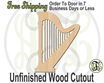 Harp - 60025- Instrument Cutout, unfinished, wood cutout, wood craft, laser cut shape, wood cut out, DIY, Free Shipping, Music