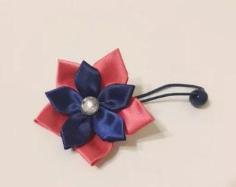 Handmade  Coral Navy Satin Ribbon Flower Girl Ponytail Holder Tie knot Hair Accessory