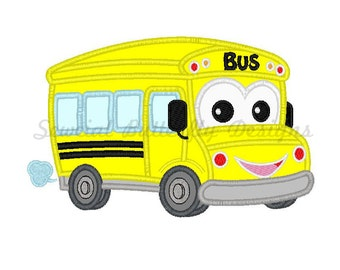 "Happy school bus applique machine embroidery design- 3 sizes 4 x 4"", 5 x 7"" and 6 x 10"""